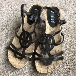 Strappy brown wedge sandals
